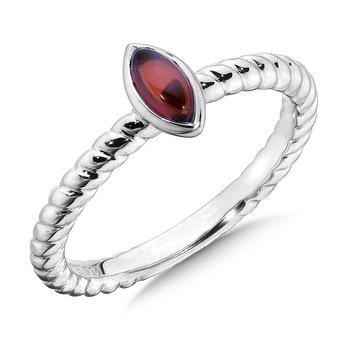 Sterling Silver Marquise Garnet Stacking Ring