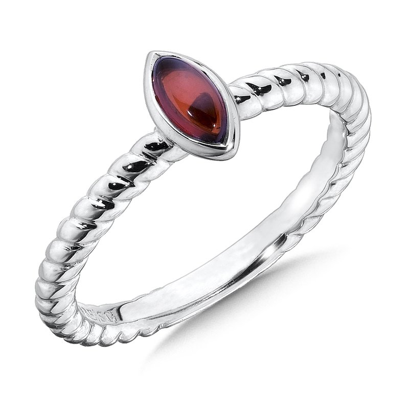 Colore Sg Sterling Silver Marquise Garnet Stacking Ring