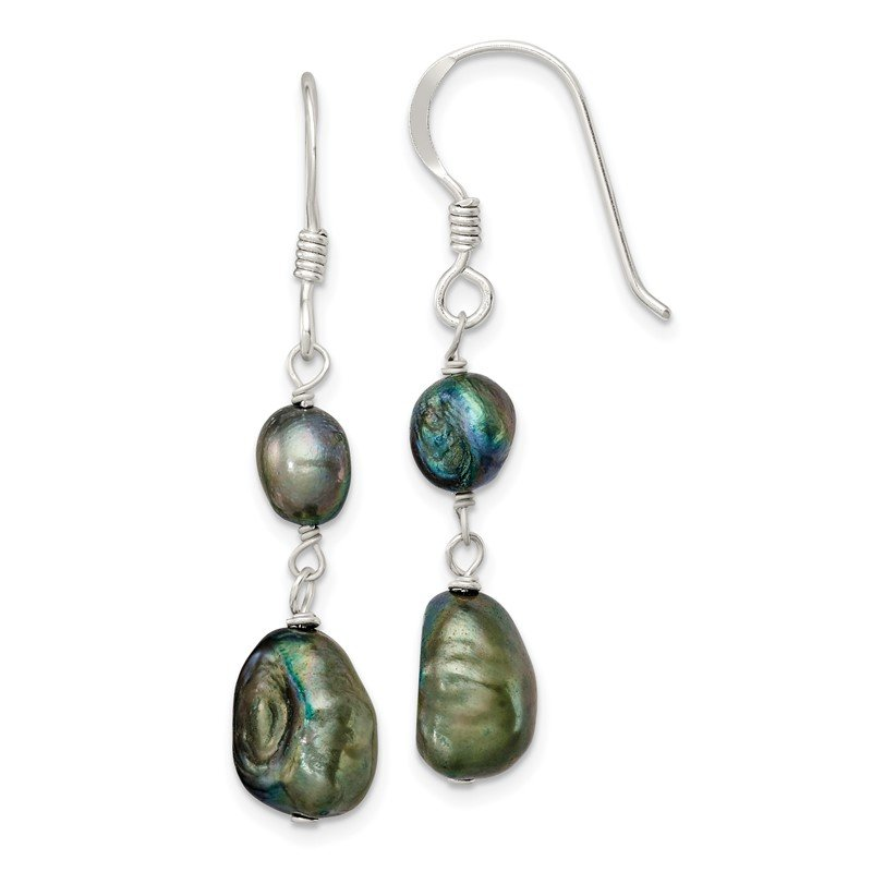 Quality Gold Sterling Silver Blue-Green FW Cultured Pearl Earrings