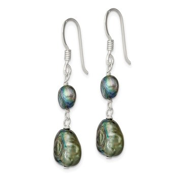 Sterling Silver Blue-Green FW Cultured Pearl Earrings