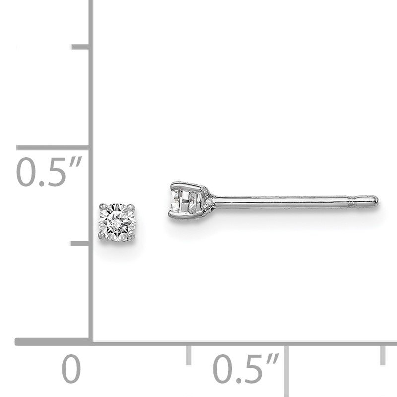 Quality Gold Sterling Silver Rhodium-plated Madi K 2.5mm Round CZ Stud Earrings