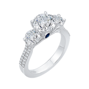 18K White Gold Round Cut Diamond Three-Stone Cathedral Style Engagement Ring (Semi-Mount)