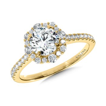 Modern Straight Halo Diamond Engagement Ring
