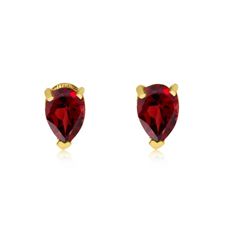 Color Merchants 14k Yellow Gold Garnet Pear-Shaped Earring