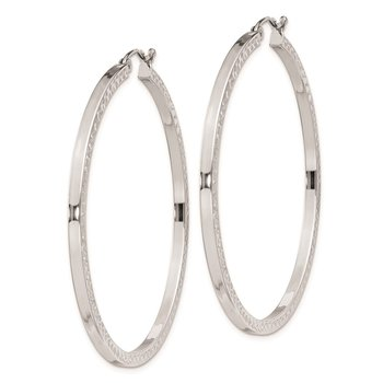 Sterling Silver Rhodium-plated Diamond-cut 2x45mm Square Tube Hoop Earrings