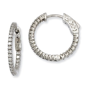 Sterling Silver CZ 50 Stones In and Out Round Hoop Earrings