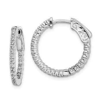 Sterling Silver CZ 50 Stones In and Out Round Hinged Hoop Earrings
