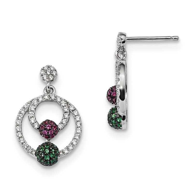 J.F. Kruse Signature Collection Sterling Silver Brilliant Embers Rhodium-pl Multi CZ Circle Post Earrings