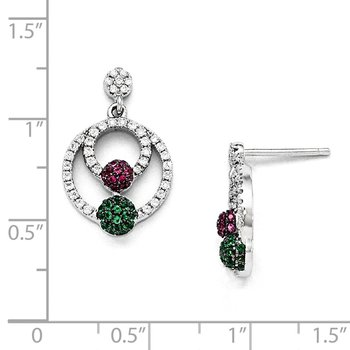 Sterling Silver Multi CZ Brilliant Embers Polished Circle Post Earrings