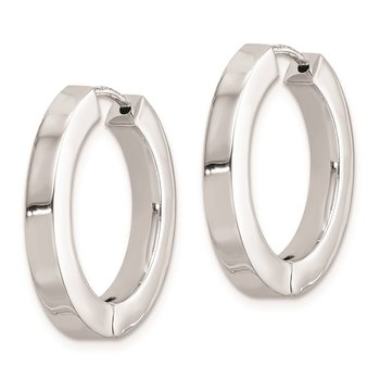 Sterling Silver Rhodium-plated Hollow Hinged Hoop Earrings