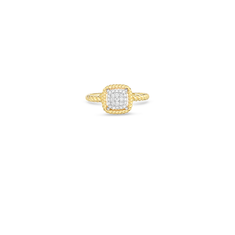 Roberto Coin 18KT NEW BAROCCO SQUARE SHAPE DIAMOND RING