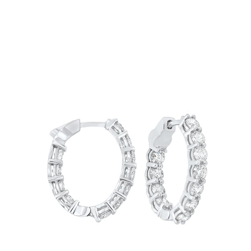 Gems One Prong Set Diamond Hoop Earrings in 14K White Gold (4 ct. tw.) SI3 - G/H
