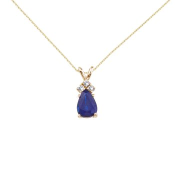 14K Yellow Gold Pear Shaped Sapphire and .05 ct Diamond Pendant