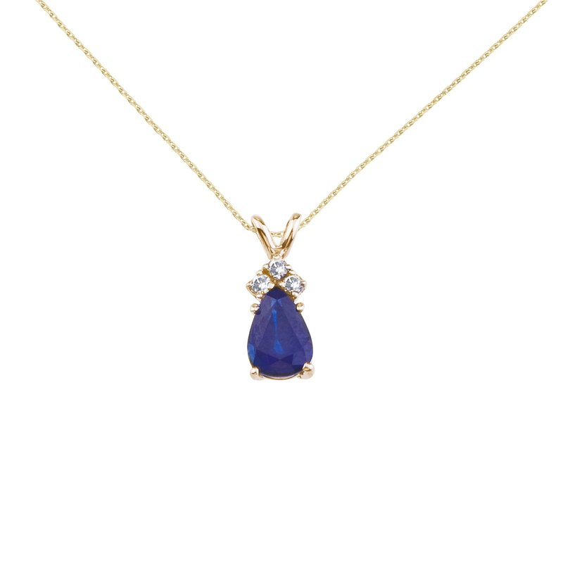 Color Merchants 14K Yellow Gold Pear Shaped Sapphire and .05 ct Diamond Pendant