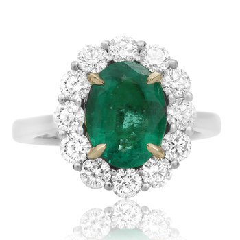 Cathedral Set Emerald & Diamond Ring