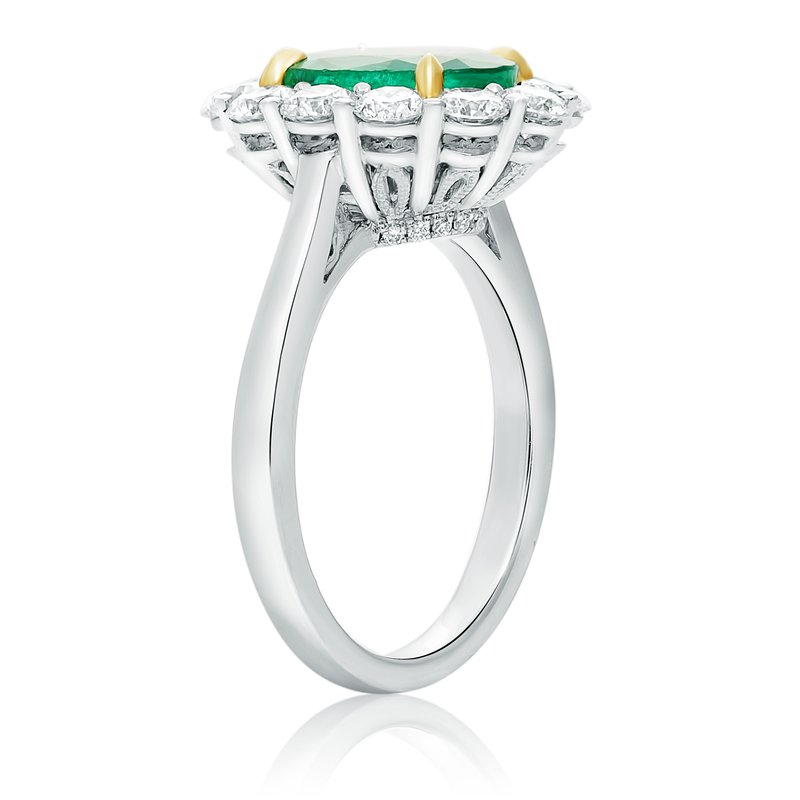 Roman & Jules Cathedral Set Emerald & Diamond Ring