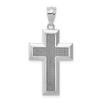 14K White Gold Polished / Textured Cross Pendant