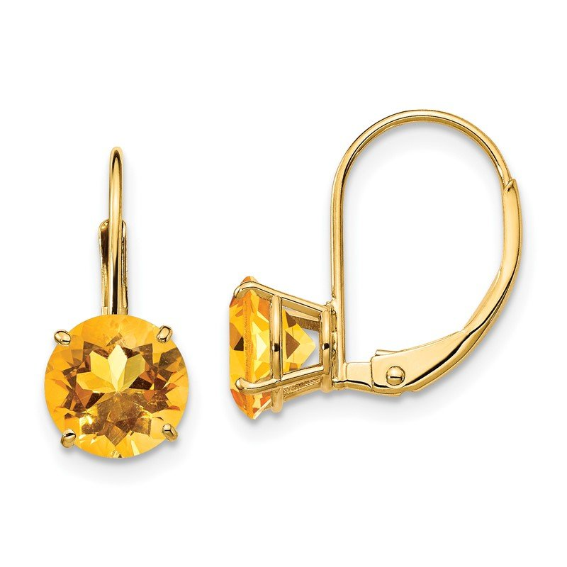Quality Gold 14k 7mm Citrine Leverback Earrings