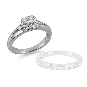 14K WG Diamond Mini Solitaire Engagement Ring