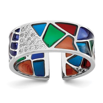 Sterling Silver Rhodium-plated Abstract Multi-color Enamel & CZ Cuff Ring