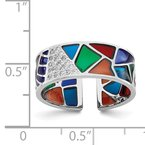 Quality Gold Sterling Silver Rhodium-plated Abstract Multi-color Enamel & CZ Cuff Ring