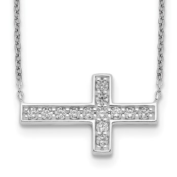 Sterling Silver CZ Cross Necklace