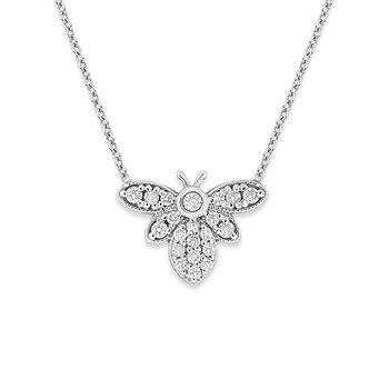 Diamond Bumble Bee Necklace in 14k White Gold with 21 Diamonds weighing .30ct tw.