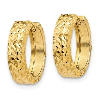 14k Diamond-cut Hinged Hoop Earrings