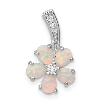 Sterling Silver Rhdoium Plated Opal Flower Pendant