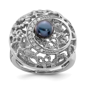 Sterling Silver Rhod-plated Black FW Cultured Pearl and CZ Round Ring