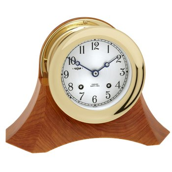 "4 1/2"" Ship's Bell Clock on Thos. Moser Cherry Wood Base"