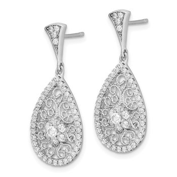 Sterling Silver Rhod-plated CZ Filigree Teardrop Dangle Post Earrings