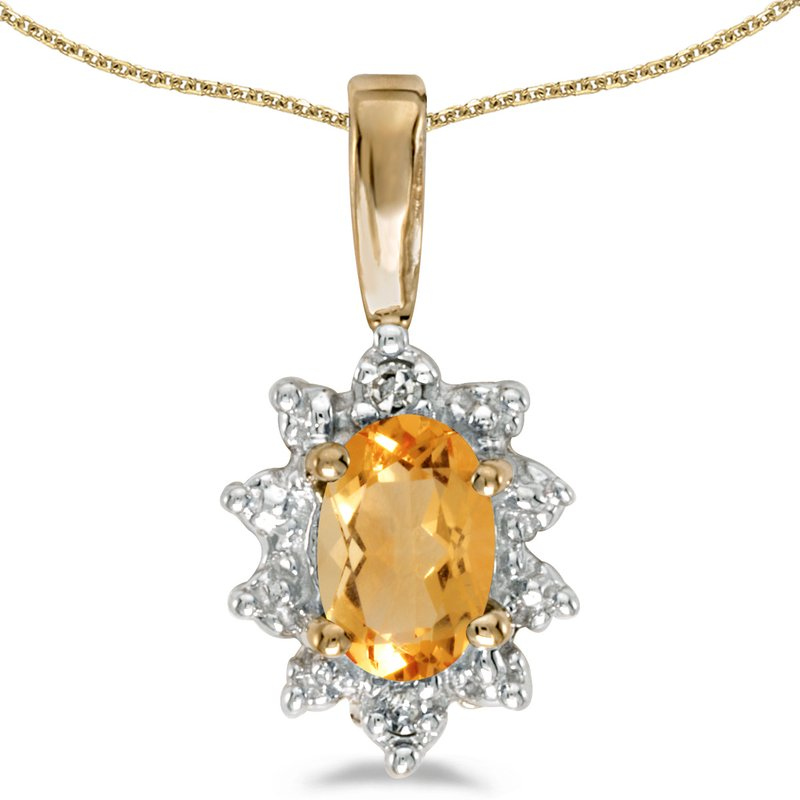 14k Yellow Gold Oval Citrine And Diamond Pendant
