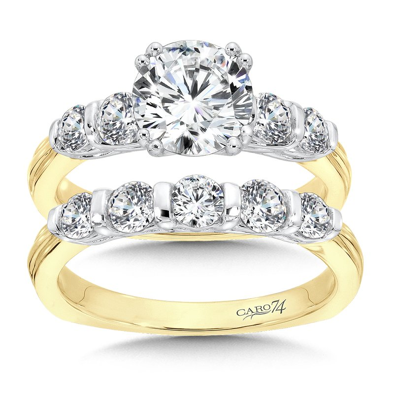Engagement Ring With Side Stones in 14K Yellow and White Gold with Platinum Head (1-1/2ct. tw.)