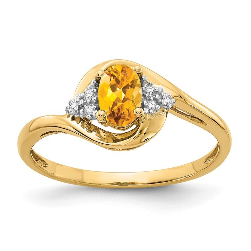 Quality Gold 14k Citrine and Diamond Ring