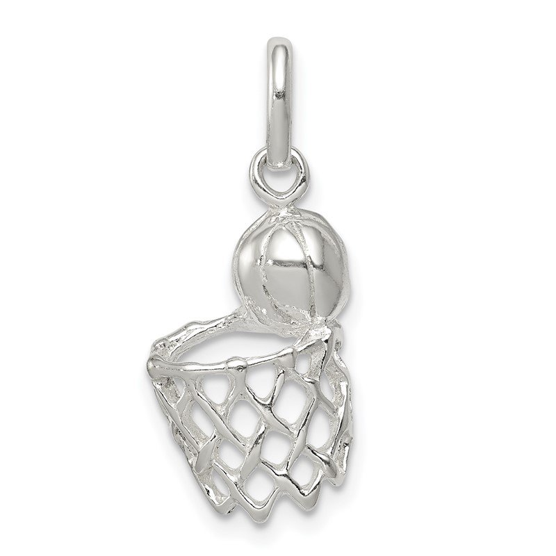 Quality Gold Sterling Silver Basketball In Hoop Charm