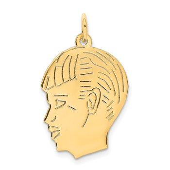 14k .011 Depth Engravable Boy Head Charm