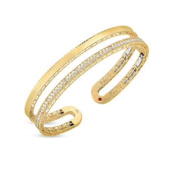 18Kt Gold Double Symphony Princess Bangle With Diamonds