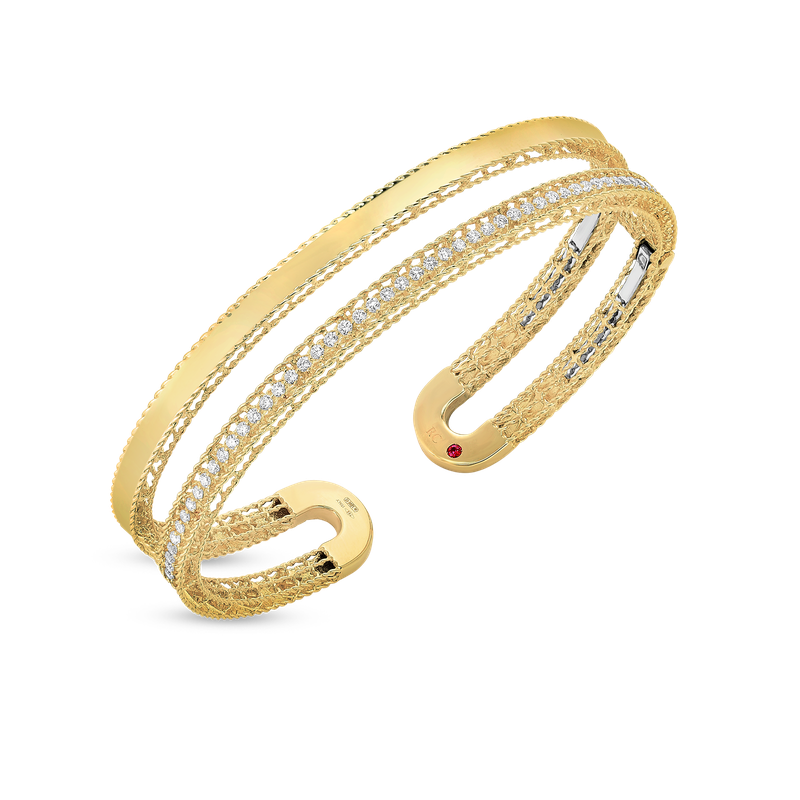 Roberto Coin 18Kt Gold Double Symphony Princess Bangle With Diamonds