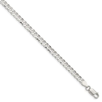 Sterling Silver 4.5mm Concave Beveled Curb Chain