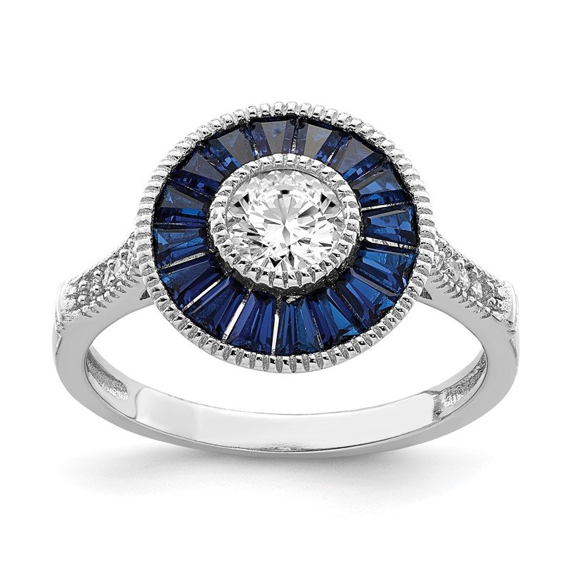 Quality Gold Sterling Silver Rhodium-plated Synthetic Blue Spinel and CZ Ring