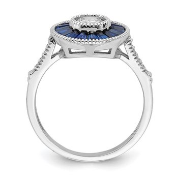 Sterling Silver Rhodium-plated Synthetic Blue Spinel and CZ Ring