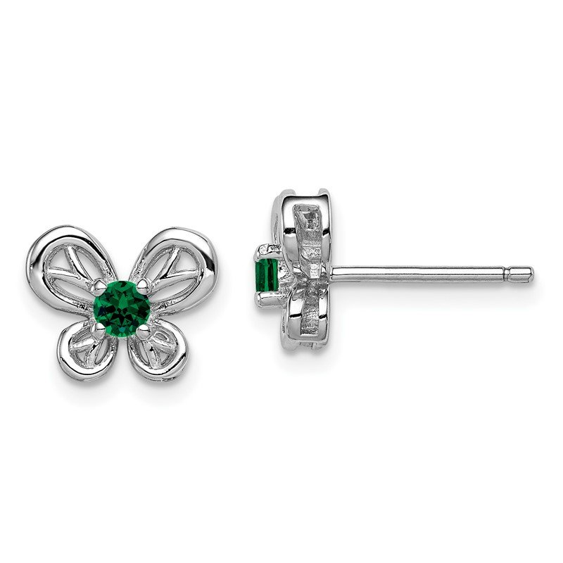 Quality Gold Sterling Silver Rhodium-plated Created Emerald Earrings