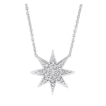 Diamond Starburst Necklace in 14K White Gold with 25 Diamonds Weighing .23 ct tw