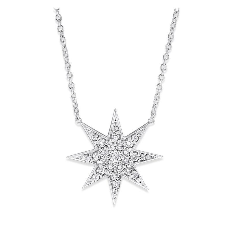 KC Designs Diamond Starburst Necklace in 14K White Gold with 25 Diamonds Weighing .23 ct tw
