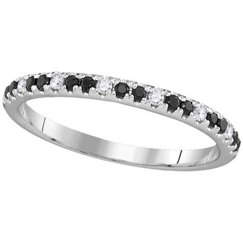 14kt White Gold Womens Round Black Sapphire Diamond Single Row Band 1/4 Cttw