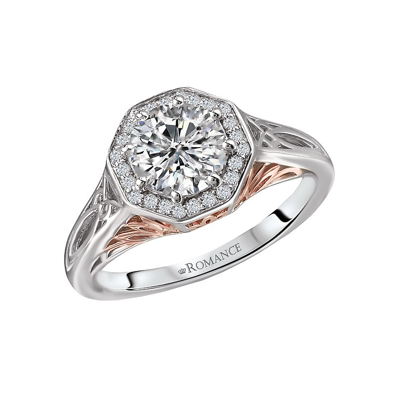 Romance Two Tone Semi-Mount Diamond Ring