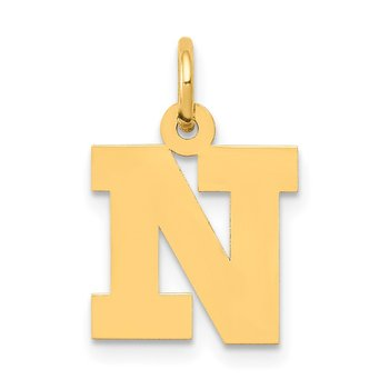 14k Small Block Letter N Initial Charm