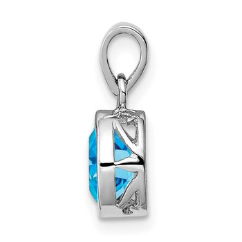 Sterling Silver Rhodium-plated Polished Blue Topaz Oval Pendant