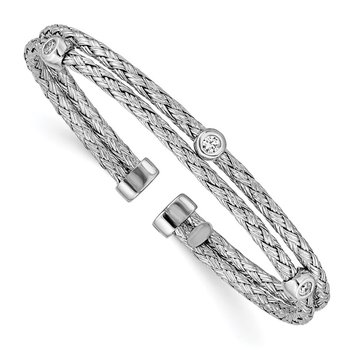 Sterling Silver Polished Rhodium-plated Double Strand CZ Cuff Bangle